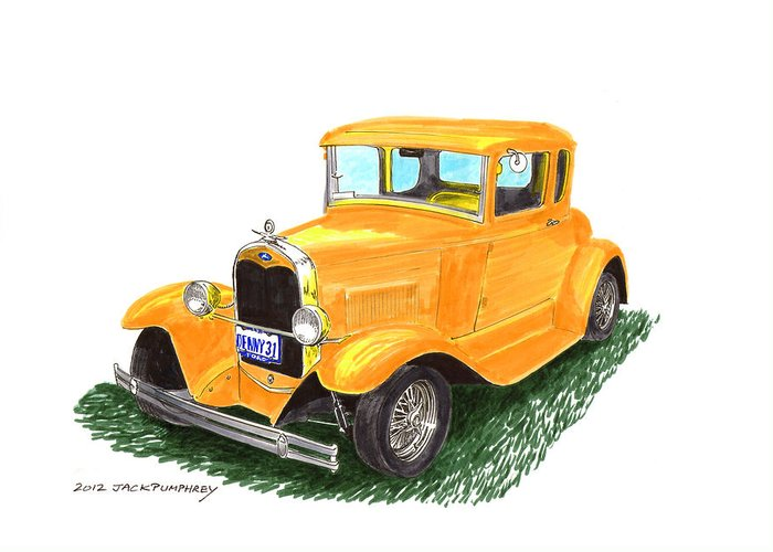Framed Pen And Ink Images Of Classic Ford Cars. Pen And Ink Drawings Of Vintage Classic Cars. Black And White Drawings Of Cars From The 1930�s Greeting Card featuring the painting 1931 Yellow Ford Coupe by Jack Pumphrey