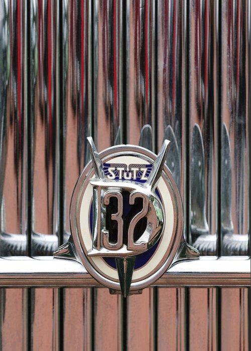 1932 Stutz Dv-32 Super Bearcat Greeting Card featuring the photograph 1932 Stutz Dv-32 Super Bearcat Emblem by Jill Reger