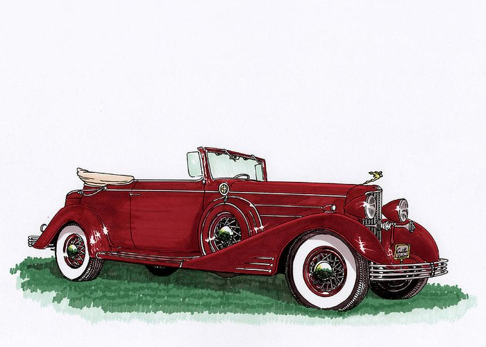 Classic Car Paintings Greeting Card featuring the painting 1933 Cadillac Convert Victoria by Jack Pumphrey