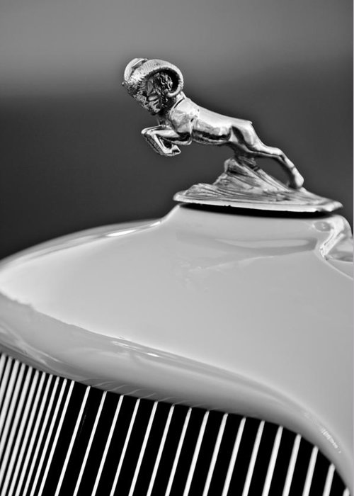 1933 Dodge Ram Greeting Card featuring the photograph 1933 Dodge Ram Hood Ornament 2 by Jill Reger