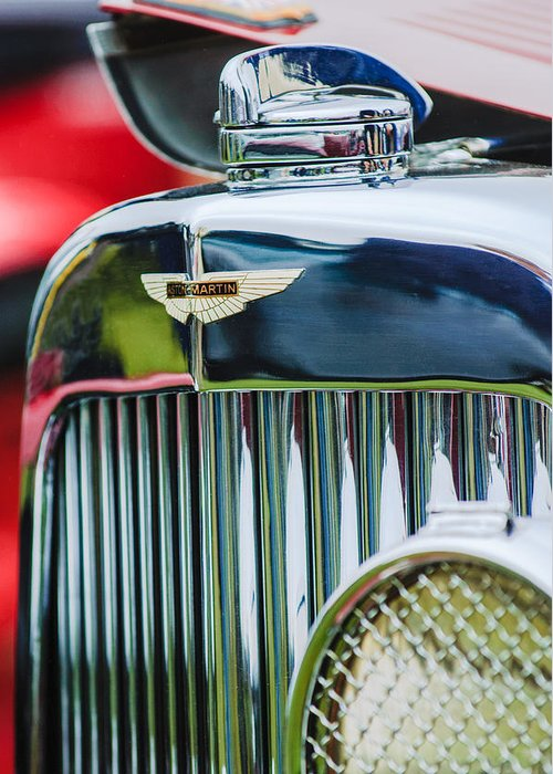 1934 Aston Martin Mark Ii Short Chassis 2-4 Seater Grille Emblem Greeting Card featuring the photograph 1934 Aston Martin Mark II Short Chassis 2-4 Seater Grille Emblem by Jill Reger