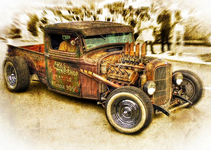 Hotrod Greeting Card featuring the photograph 1934 Ford Rusty Rod by motography aka Phil Clark