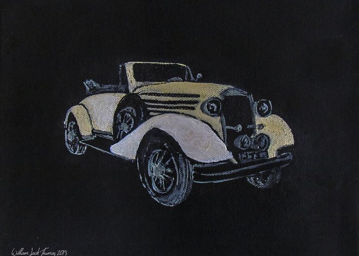 Antique Greeting Card featuring the painting 1934 Mclaren by William Jack Thomas