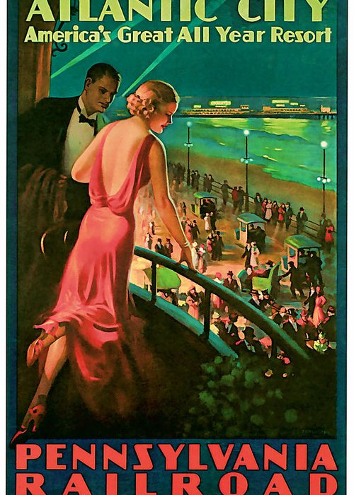 Vintage Greeting Card featuring the mixed media 1935 Atlantic City Vintage Travel Art by Presented By American Classic Art
