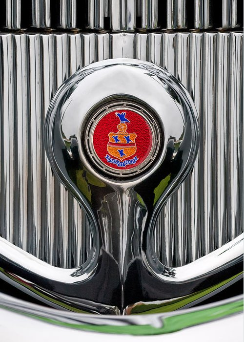 1935 Pierce-arrow 845 Coupe Greeting Card featuring the photograph 1935 Pierce-arrow 845 Coupe Emblem by Jill Reger