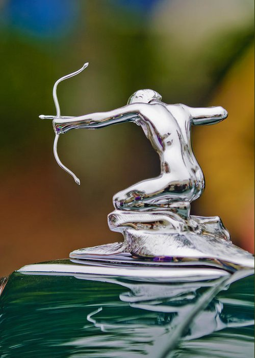 1935 Pierce-arrow 845 Coupe Greeting Card featuring the photograph 1935 Pierce-arrow 845 Coupe Hood Ornament by Jill Reger