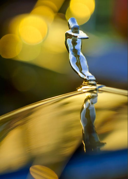 1936 Cadillac Greeting Card featuring the photograph 1936 Cadillac Hood Ornament by Jill Reger