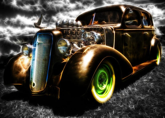 Custom Chevy Greeting Card featuring the photograph 1936 Chevrolet Sedan by Phil 'motography' Clark