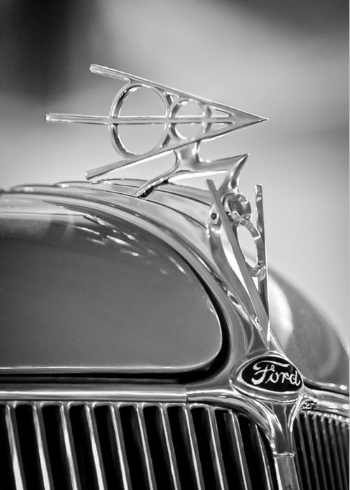 1936 Ford Deluxe Roadster Greeting Card featuring the photograph 1936 Ford Deluxe Roadster Hood Ornament 2 by Jill Reger
