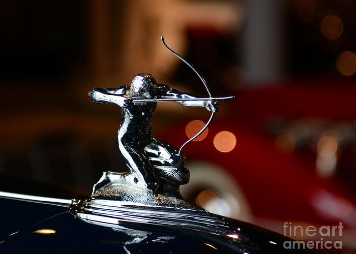 1936 Pierce Arrow 1602 Coupe Greeting Card featuring the photograph 1936 Pierce Arrow Hood Ornament by Paul Ward