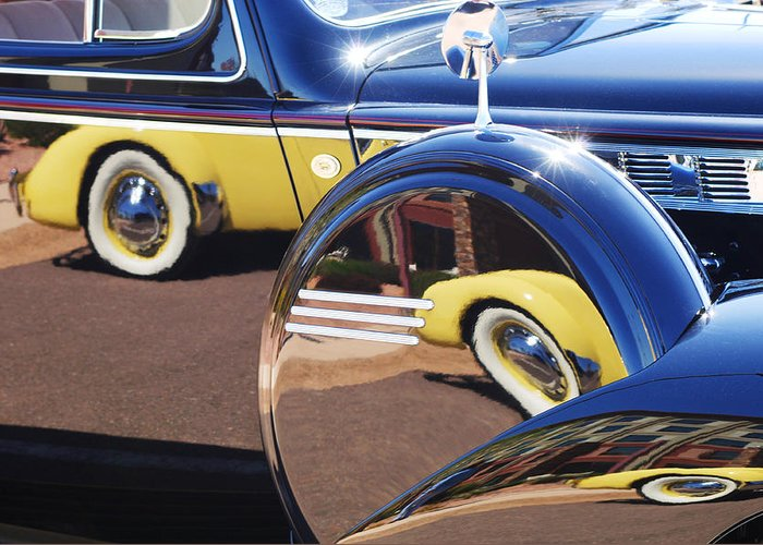 1937 Cord 812 Phaeton Reflected Into Packard Greeting Card featuring the photograph 1937 Cord 812 Phaeton Reflected Into Packard by Jill Reger