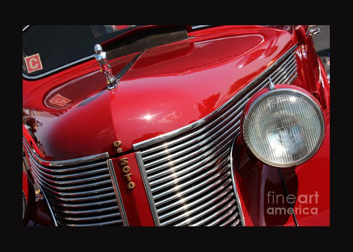 1937 Greeting Card featuring the photograph 1937 Desoto Front Grill And Head Light 7285 by Gary Gingrich Galleries