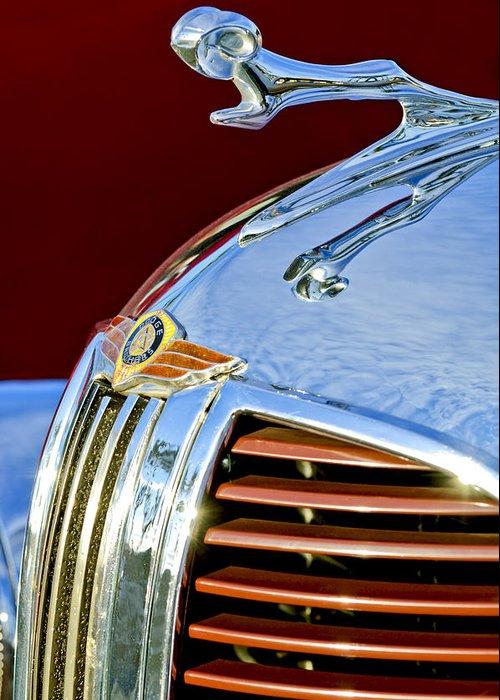 1938 Dodge Ram Greeting Card featuring the photograph 1938 Dodge Ram Hood Ornament 3 by Jill Reger
