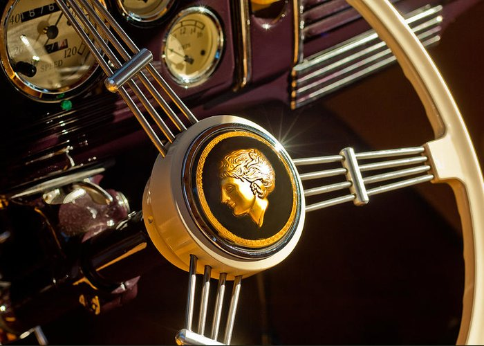 1939 Ford Standard Woody Greeting Card featuring the photograph 1939 Ford Standard Woody Steering Wheel by Jill Reger