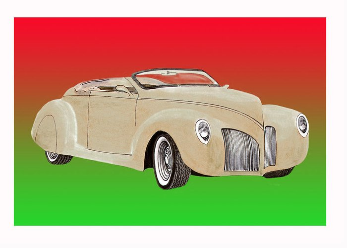 1939 Lincoln Zephyr Replicar By Speedster Greeting Card featuring the painting 1939 Lincoln Zephyr Speedster by Jack Pumphrey