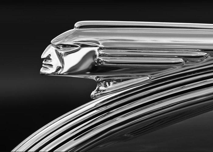 1939 Pontiac Silver Streak Greeting Card featuring the photograph 1939 Pontiac Silver Streak Hood Ornament 3 by Jill Reger