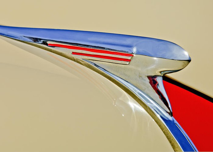 1940 Chevrolet Greeting Card featuring the photograph 1940 Chevrolet Pickup Hood Ornament 2 by Jill Reger