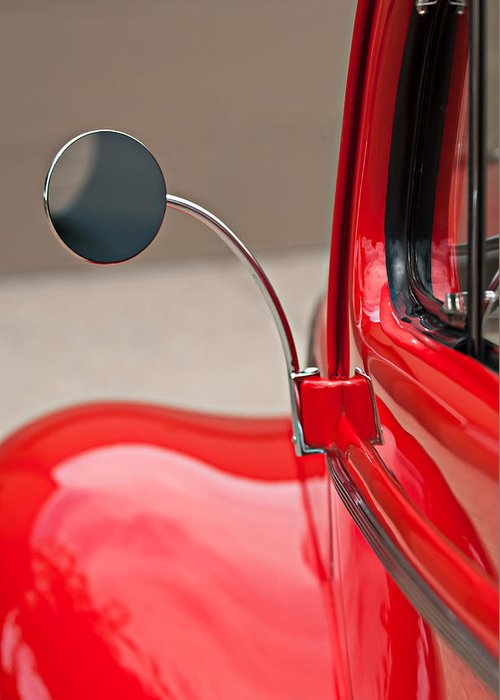 1940 Ford Deluxe Coupe Rear View Mirror Greeting Card featuring the photograph 1940 Ford Deluxe Coupe Rear View Mirror by Jill Reger