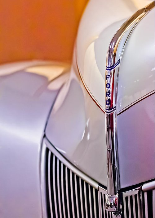1940 Ford Hood Ornament Greeting Card featuring the photograph 1940 Ford Hood Ornament by Jill Reger
