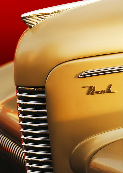1940 Nash Sedan Grille Greeting Card featuring the photograph 1940 Nash Sedan Grille by Jill Reger