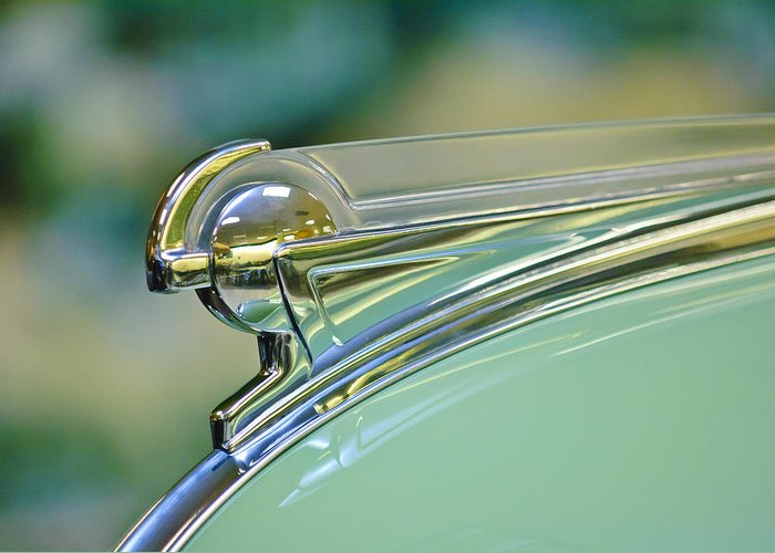 1940 Oldsmobile Convertible Series 90 Convertible Greeting Card featuring the photograph 1940 Oldsmobile Hood Ornament by Jill Reger