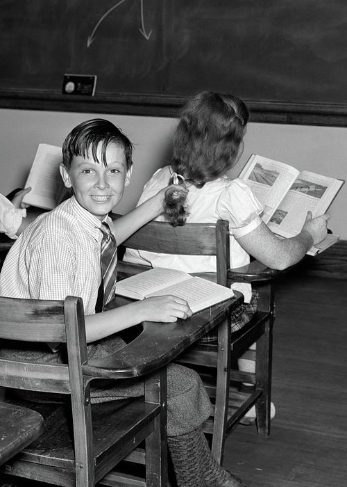 1940s 3 kids students classroom boy greeting card for sale by photography greeting card featuring the photograph 1940s 3 kids students classroom boy by vintage images m4hsunfo