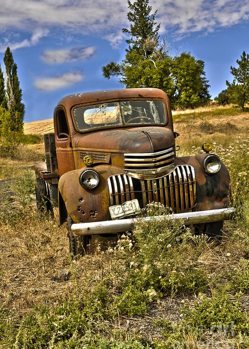 Old Truck Greeting Card featuring the photograph 1940's Chevy Truck by Camille Lyver