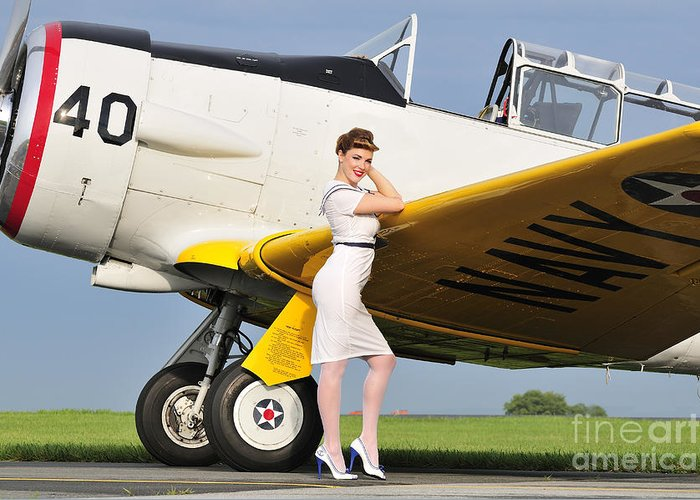 Retro Styled Greeting Card featuring the photograph 1940s Style Navy Pin-up Girl Leaning by Christian Kieffer