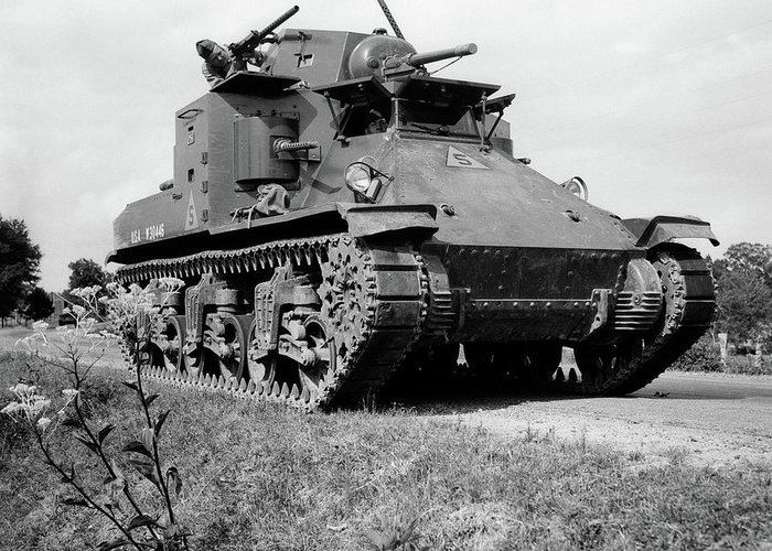 Photography Greeting Card featuring the photograph 1940s World War II Era Us Army Tank One by Vintage Images