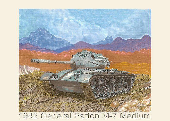 Winning The War Greeting Card featuring the painting 1941 W W I I Patton Tank by Jack Pumphrey