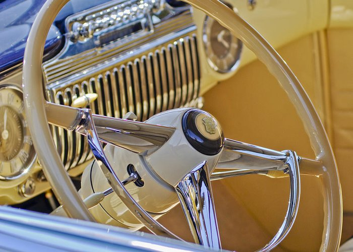 1947 Cadillac 62 Convertible Coupe Greeting Card featuring the photograph 1947 Cadillac 62 Steering Wheel by Jill Reger
