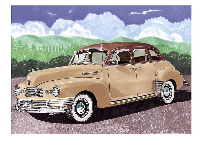1947 Nash Statesman Four Door Sedan Greeting Card featuring the painting 1947 Nash Statesman by Jack Pumphrey