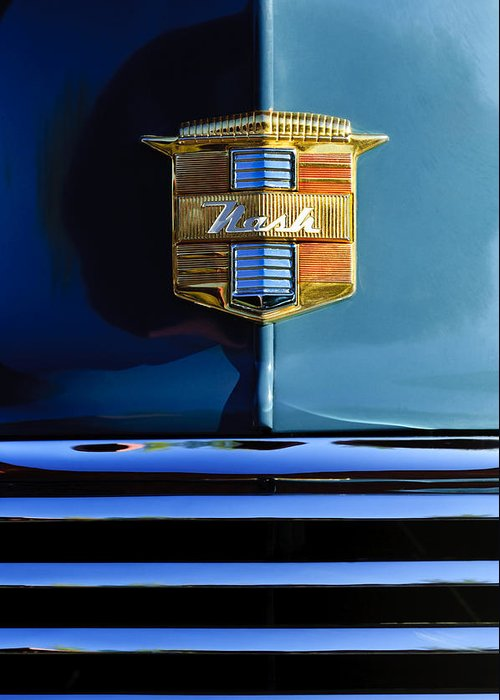 1947 Nash Suburban Greeting Card featuring the photograph 1947 Nash Surburban Hood Ornament by Jill Reger