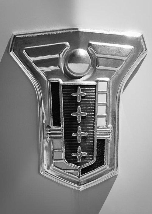 1949 Mercury Station Wagon Emblem Greeting Card featuring the photograph 1949 Mercury Station Wagon Emblem by Jill Reger