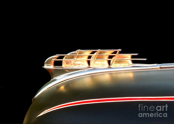 Car Greeting Card featuring the photograph 1949 Plymouth Schooner Hood Ornament by Renee Trenholm