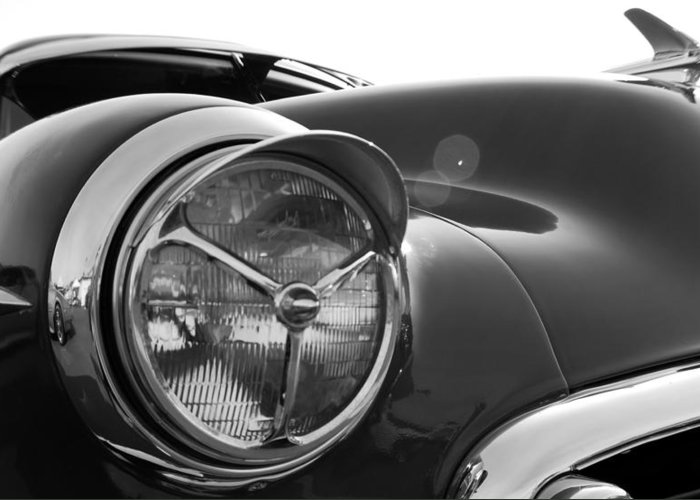 Classic Cars Greeting Card featuring the photograph 1950 Chevrolet Deluxe Headlight by DJ Monteleone