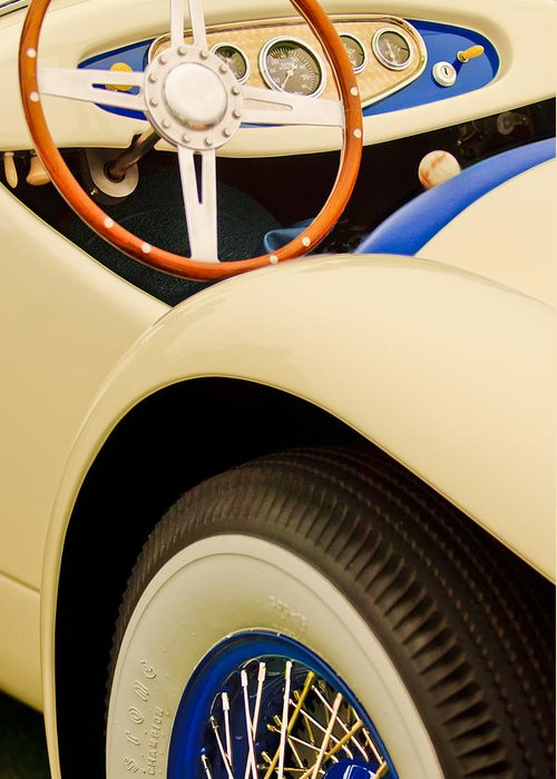 1950 Eddie Rochester Anderson Emil Diedt Roadster Greeting Card featuring the photograph 1950 Eddie Rochester Anderson Emil Diedt Roadster Steering Wheel by Jill Reger