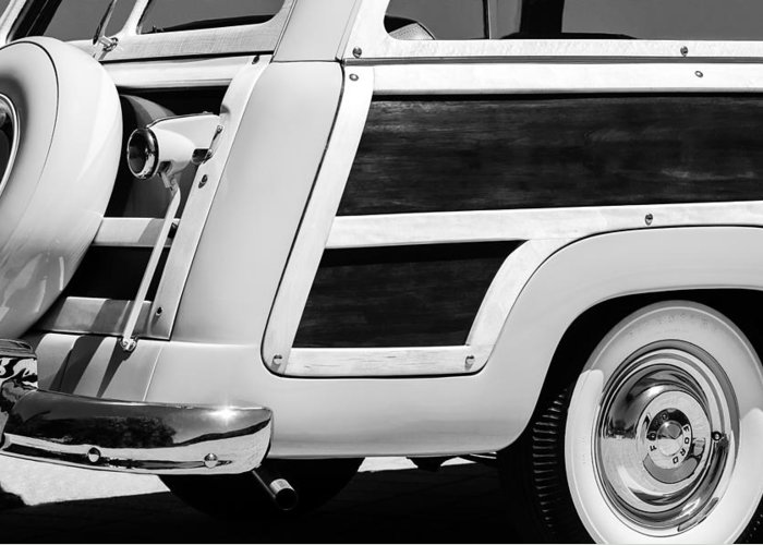 1950 Ford Custom Deluxe Station Wagon Rear End - Woodie Greeting Card featuring the photograph 1950 Ford Custom Deluxe Station Wagon Rear End - Woodie by Jill Reger