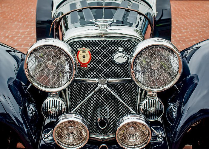 1950 Jaguar Xk120 Roadster Greeting Card featuring the photograph 1950 Jaguar Xk120 Roadster Grille by Jill Reger