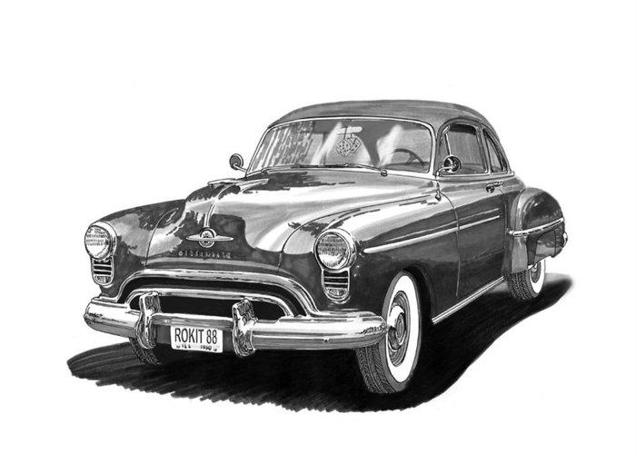 American Car Drawings Greeting Cards