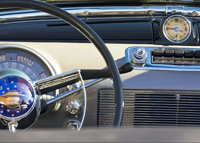 1950 Oldsmobile Rocket 88 Greeting Card featuring the photograph 1950 Oldsmobile Rocket 88 Steering Wheel 3 by Jill Reger