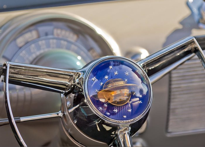1950 Rocket 88 Oldsmobile Greeting Card featuring the photograph 1950 Oldsmobile Rocket 88 Steering Wheel by Jill Reger