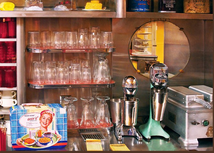 American Diner Greeting Card featuring the photograph 1950's - Diner - A 1950's Diner by Mike Savad