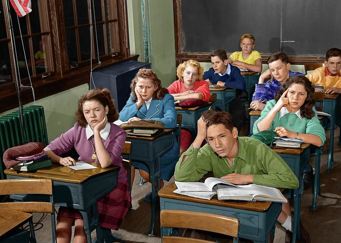 1950s high school classroom of bored greeting card for sale by photography greeting card featuring the photograph 1950s high school classroom of bored by vintage images m4hsunfo