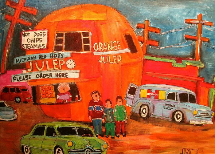 Montreal Icon Greeting Card featuring the painting 1950's Orange Julep Montreal Memories by Michael Litvack
