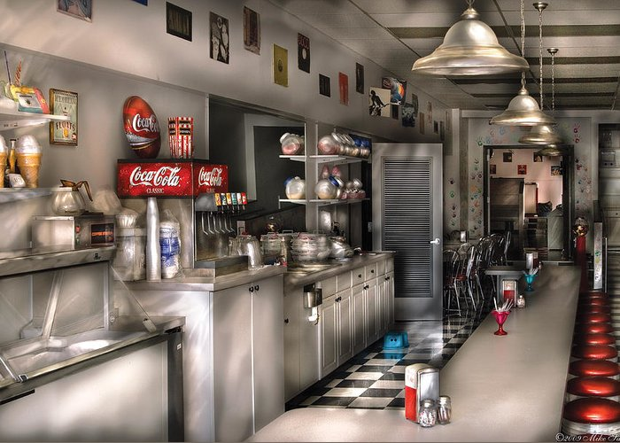 Cola Greeting Card featuring the photograph 1950's - The Soda Fountain by Mike Savad