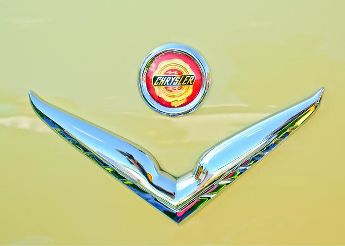 1951 Chrysler New Yorker Convertible Emblem Greeting Card featuring the photograph 1951 Chrysler New Yorker Convertible Emblem by Jill Reger