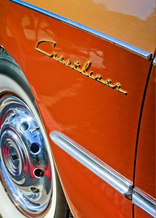 1951 Ford Crestliner Emblem - Wheel Greeting Card featuring the photograph 1951 Ford Crestliner Emblem - Wheel by Jill Reger