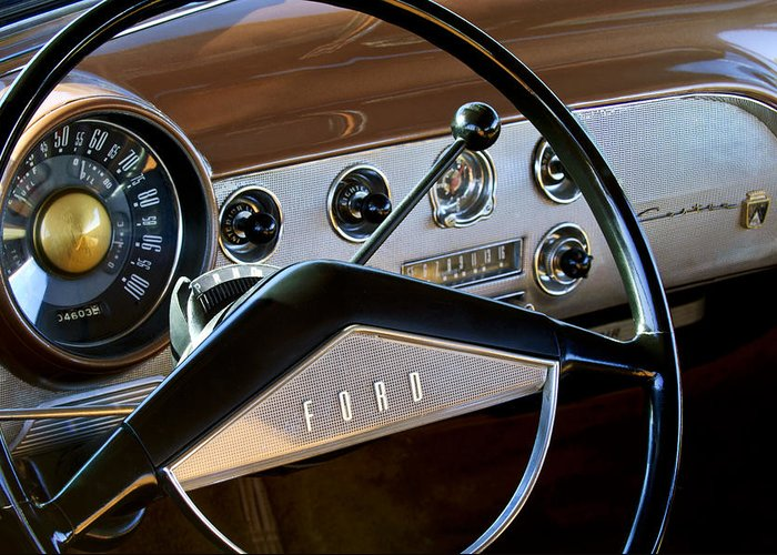 1951 Ford Crestliner Greeting Card featuring the photograph 1951 Ford Crestliner Steering Wheel by Jill Reger