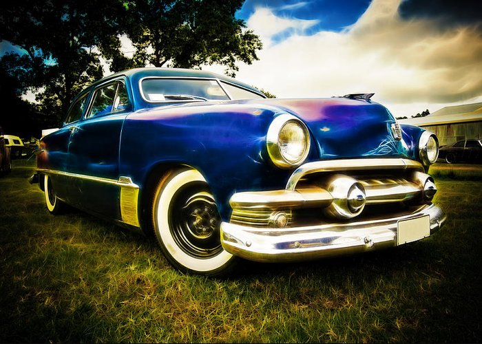 Ford Custom V8 Greeting Card featuring the photograph 1951 Ford Custom by Phil 'motography' Clark